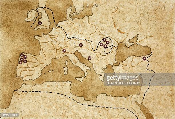 Map Of Ancient Mediterranean Stock-Fotos und Bilder |