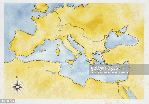 Map Of Ancient Mediterranean Stock-Fotos und Bilder - Getty Images