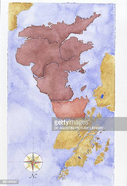 Ancient Rome map of Roman Britain illustration
