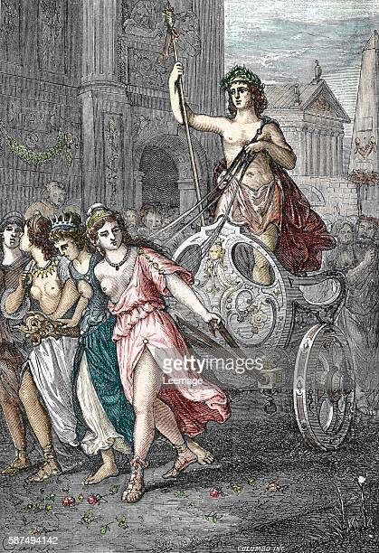 roman emperor Elagabalus parading on a chariot pulled by women Engraving from 'Les imperatrices romaines' 1888 Collection privee
