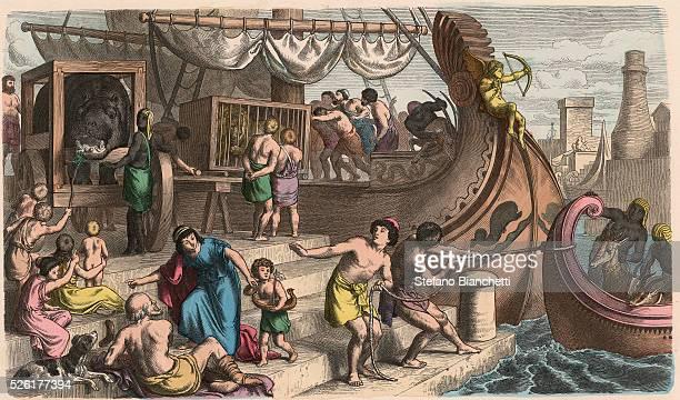 Sea Travel Wild animals are transported for the circus Coloured engraving by Heinrich Leutemann Bilder aus dem Altertume 1866