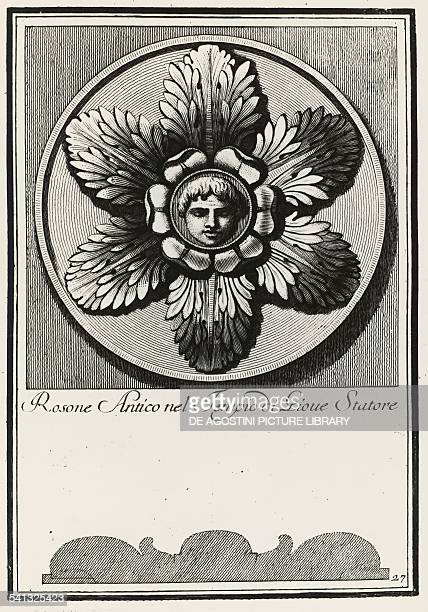 Ancient rosette from the Temple of Jupiter Stator plate 27 elevation and section engraving from Manual of various ornaments by Carlo Antonini Italy...