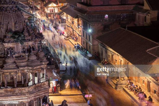 ancient royal city of patan at sunset, nepal - stock photo - pokhara stock pictures, royalty-free photos & images