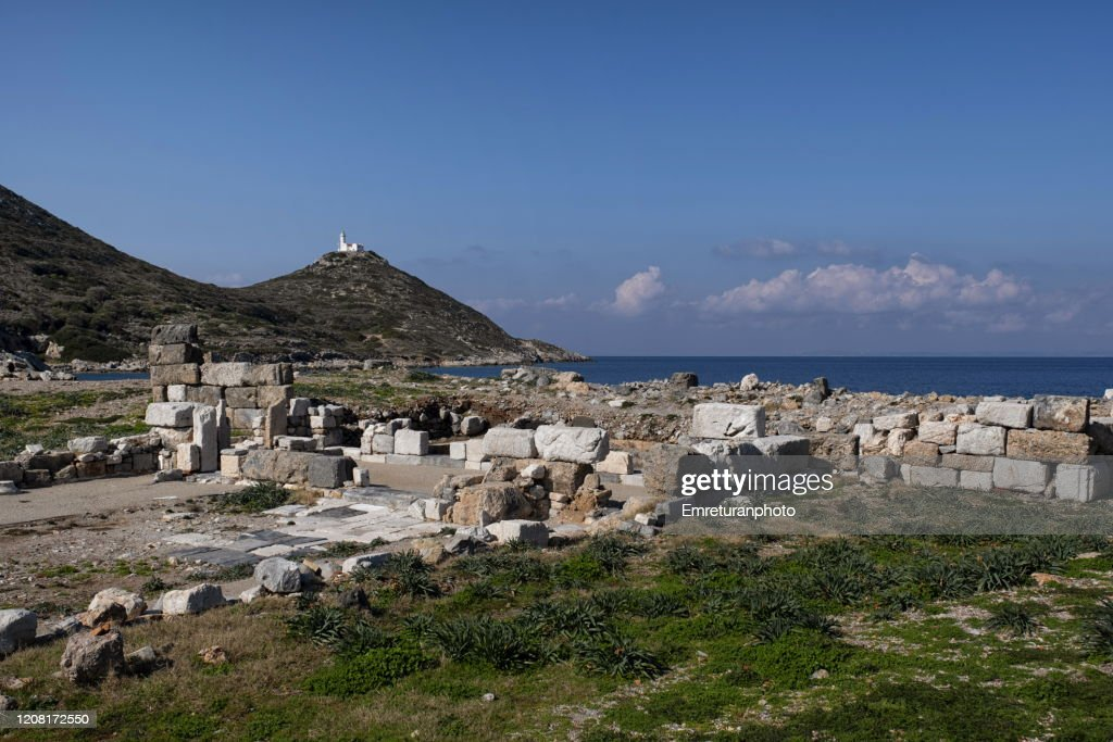 Ancient ruins and lighthouse at Knidos on a sunny clear day : Stock Photo