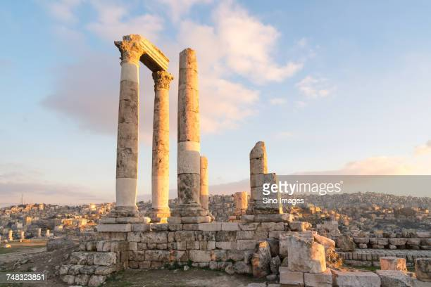 ancient ruins at sunset, amman, jordan - image stock pictures, royalty-free photos & images