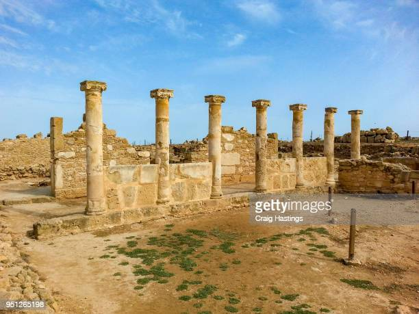 ancient ruins in paphos cyprus - repubiek cyprus stockfoto's en -beelden