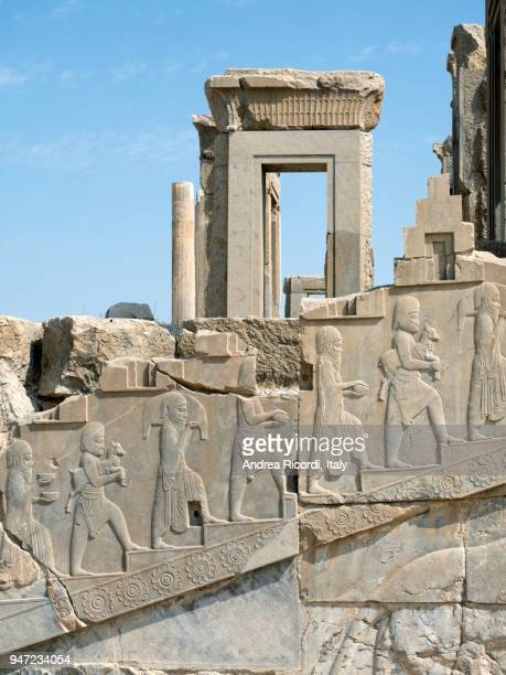 ancient ruins in persepolis, iran - bas relief stock pictures, royalty-free photos & images