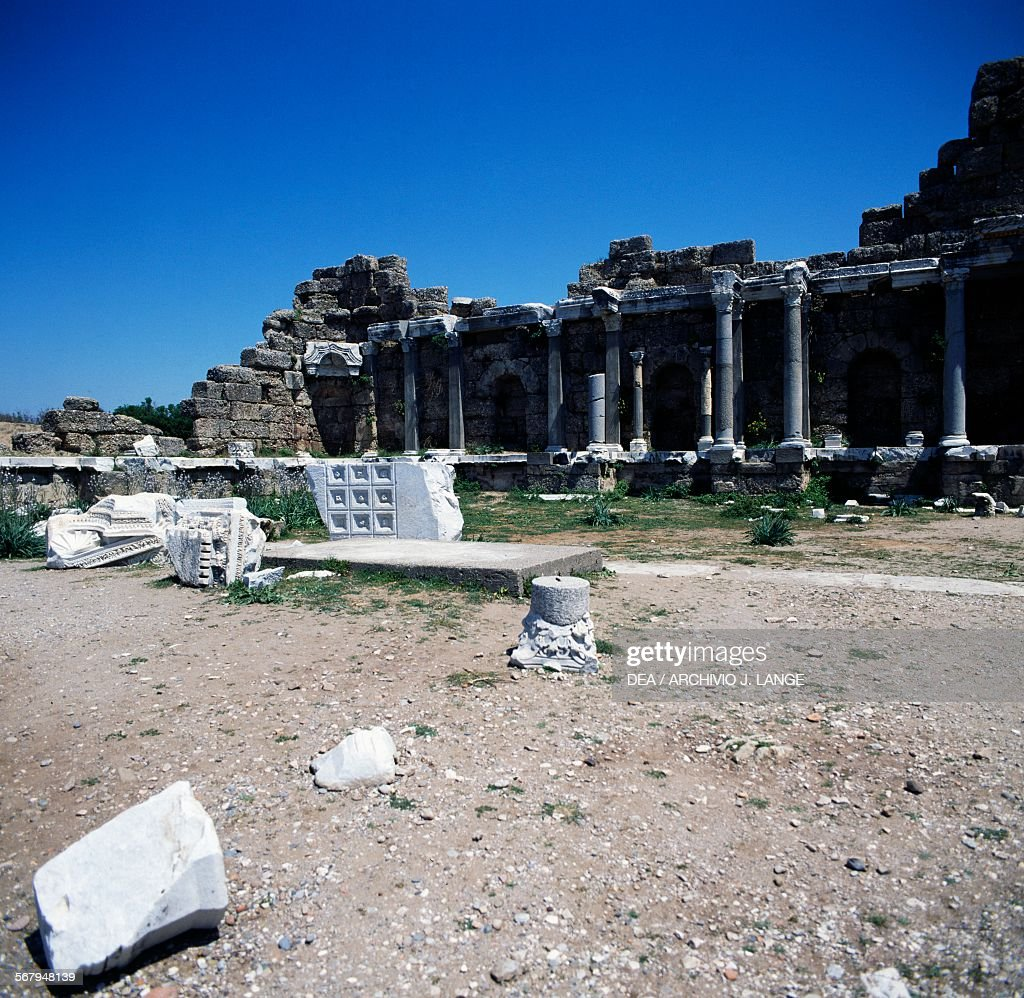 Ancient ruins in Side, near Selimiye : News Photo
