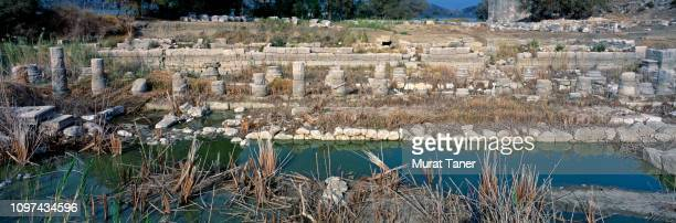 ancient ruins in the antique city of letoon in turkey - ancient history stock pictures, royalty-free photos & images