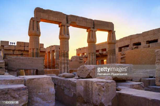 ancient ruins of karnak temple in egypt - abu simbel stock pictures, royalty-free photos & images