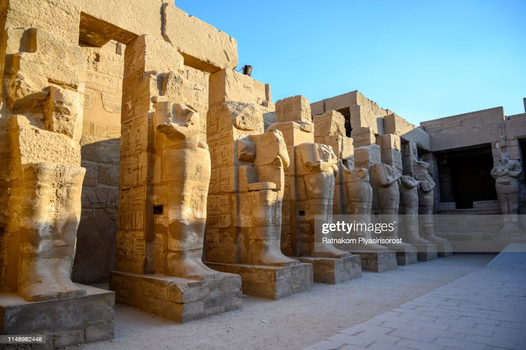 """Ancient ruins of Karnak temple in Egypt,""""r""""nThe Karnak Temple Complex, commonly known as Karnak , comprises a vast mix of decayed temples, chapels, pylons, and other buildings near Luxor : ストックフォト"""