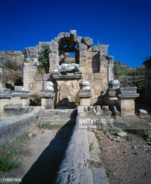 ancient ruins of perge in turkey - ancient greece photos stock pictures, royalty-free photos & images