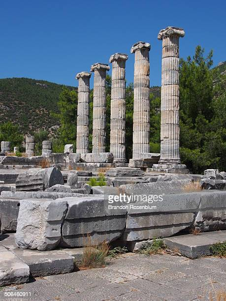 ancient ruins of priene - priene stock photos and pictures