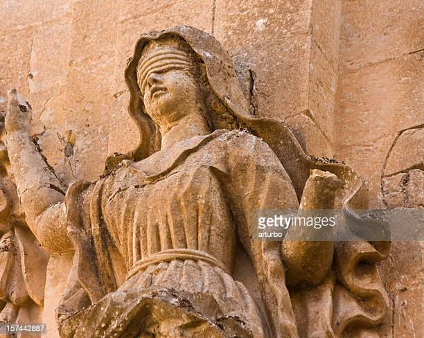 ancient sandstone lady justice - lady justice stock pictures, royalty-free photos & images