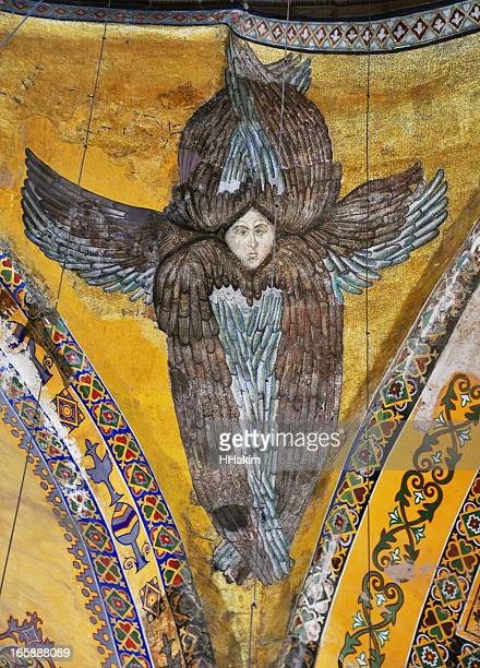 ancient seraphim mosaic in hagia sophia - byzantine stock photos and pictures