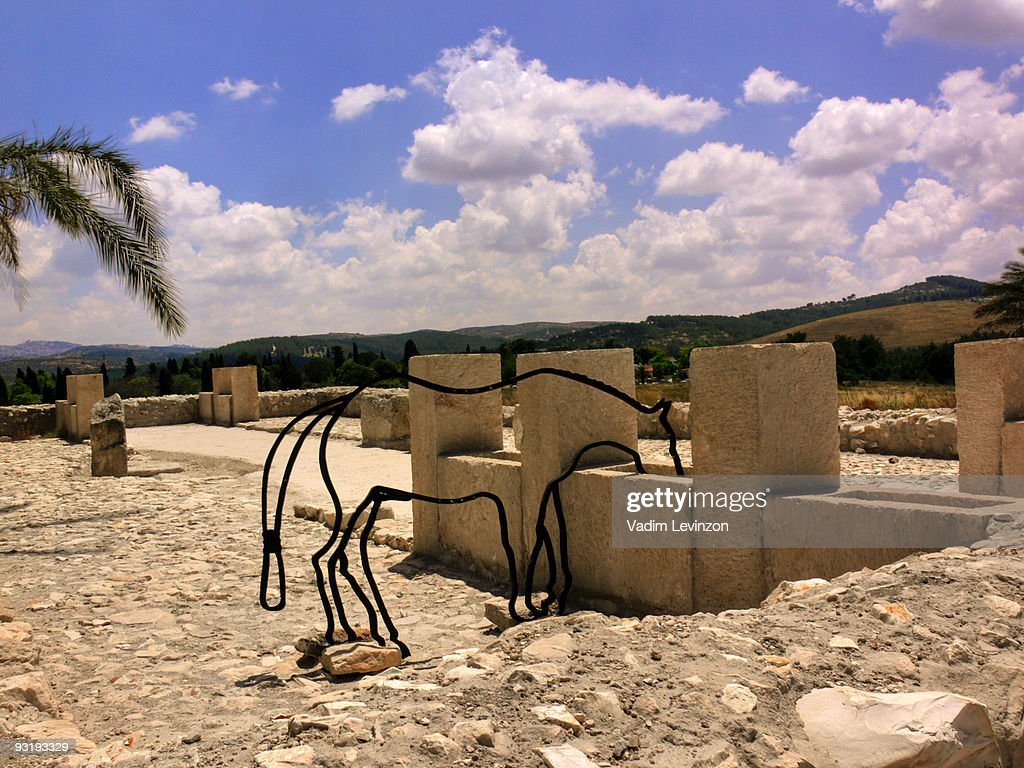Ancient stables  Tel Megiddo National Park : Stock Photo