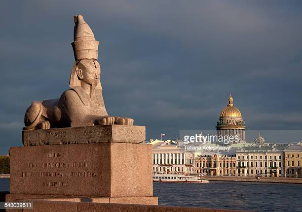 Ancient statue of spinx on Neva embankment
