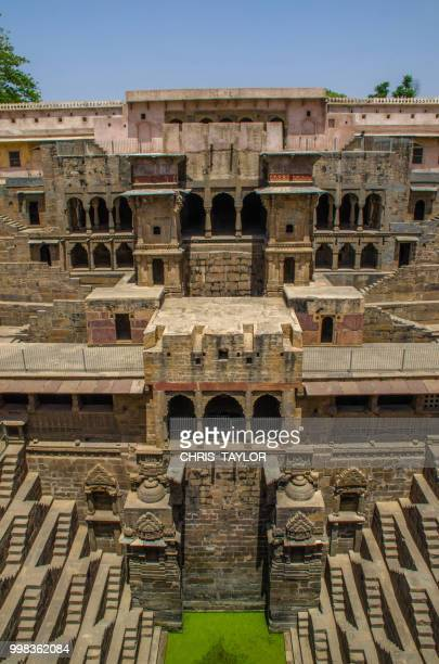 ancient stepwell - abhaneri stock photos and pictures