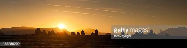Ancient stone circle sunset Castlerigg Lake District