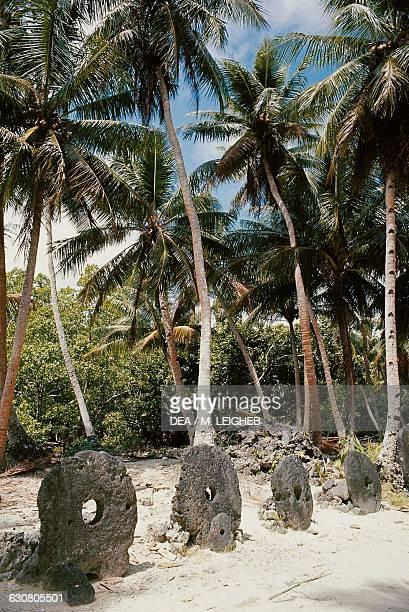 Ancient stone coins or rai fee ray bride's dowry Yap Island Caroline islands Micronesia