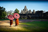 Ancient stone faces of Bayon temple