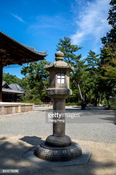 Ancient stone lamp Located in suburb of Nara city Toshodaiji Temple designed and built by Chinese monk Jian Zhen in Tang Dynasty has a China Tang...