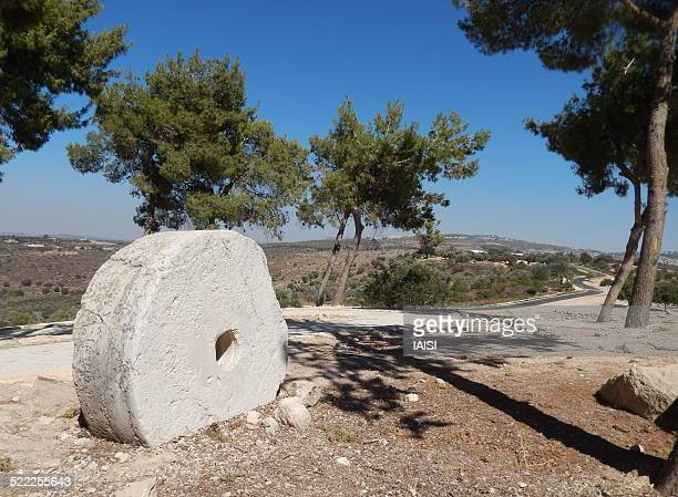 ancient stone wheel, tsippori in galillee - chariot wheel stock photos and pictures