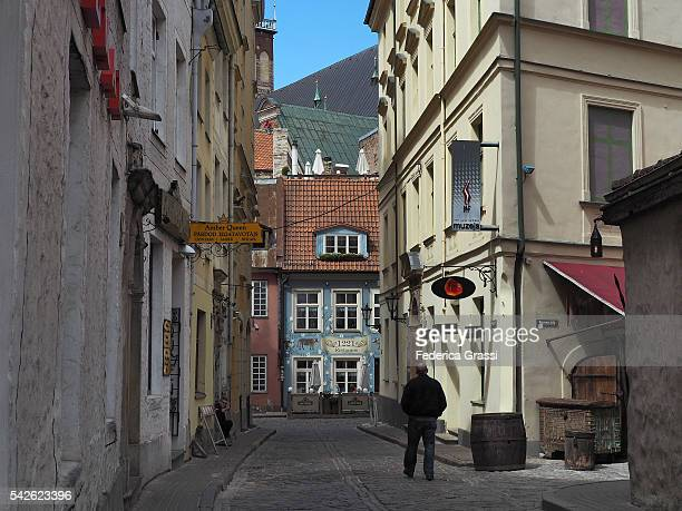 Ancient Street With Traditional Buildings In The Old Town Of Riga, Latvia, North Europe
