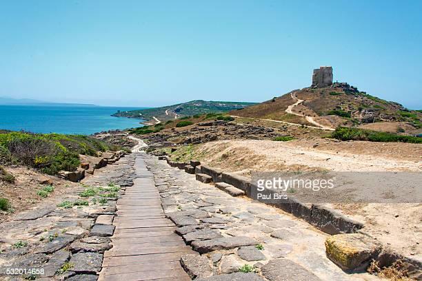 Ancient streets of Tharros, Sinis Peninsula, Oristano, Sardinia, Italy Province, Europe