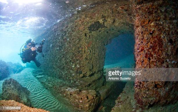 ancient submerged roman ruins - archaeology stock pictures, royalty-free photos & images