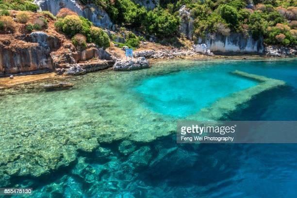 ancient sunken city @ kekova island, antalya, turkey - kas stock pictures, royalty-free photos & images