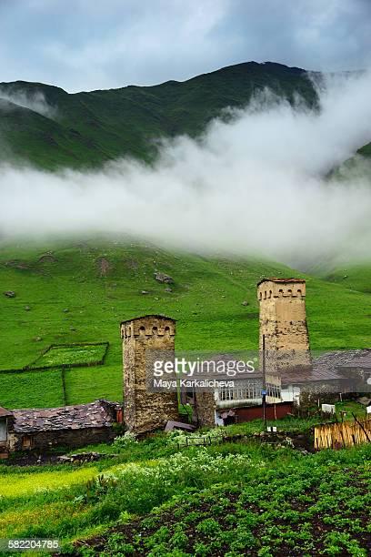 Ancient svan towers in Svaneti, Caucasus mountain
