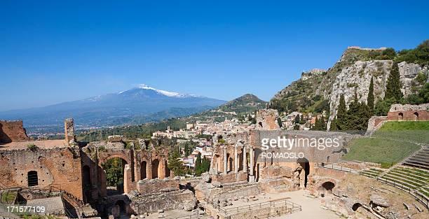 Historische Teatro Greco in Taormina und Ätna, Sizilien, Italien