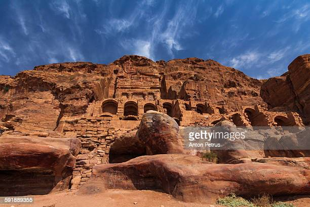 ancient temple against the blue sky. petra. - treasury stock pictures, royalty-free photos & images