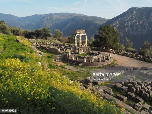 ancient temple of athena pronea, delphi, greece - mois de mars photos et images de collection