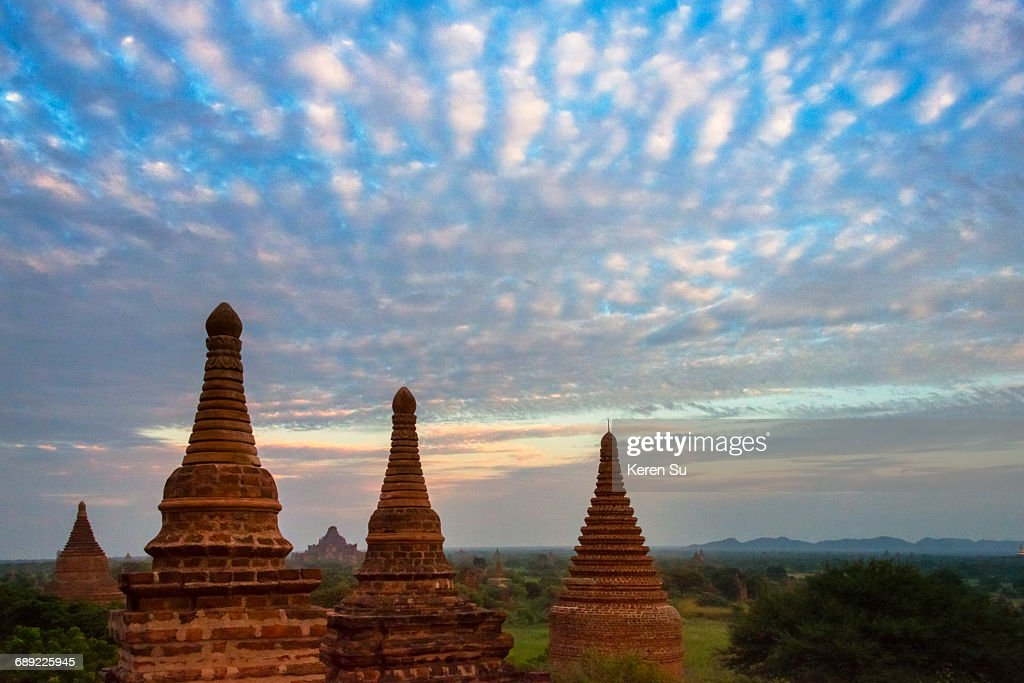 Ancient temples and pagodas at sunset : Stock Photo