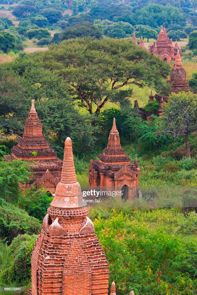 Ancient temples and pagodas in the forest : Stock Photo