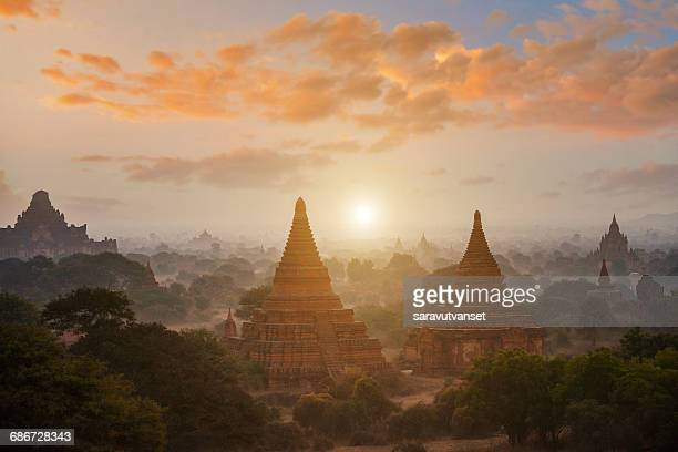 Ancient temples at sunrise, Bagan, Mandalay, Myanmar
