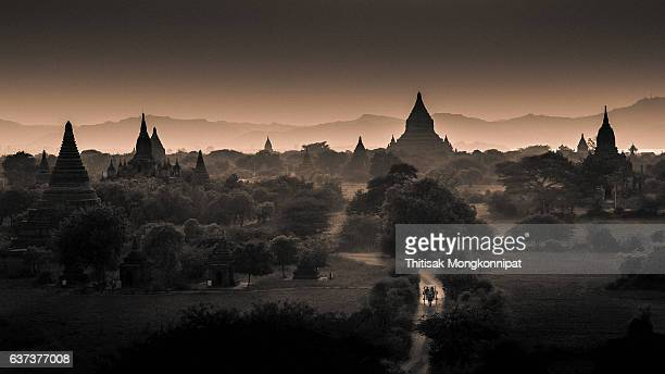 ancient temples in old bagan after sunset - yangon stock pictures, royalty-free photos & images