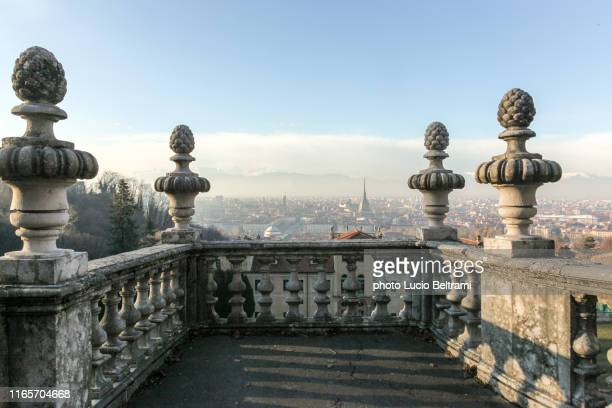 ancient terrace with a view on turin, italy - turin stock pictures, royalty-free photos & images