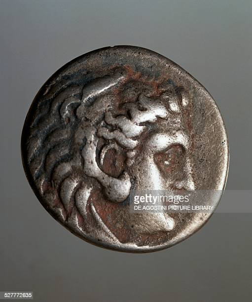 Ancient tetradrachm coin with the image of Seleucus I Nicator successor of Alexander the Great Thrace civilisation 15th century BC Milan Castello...
