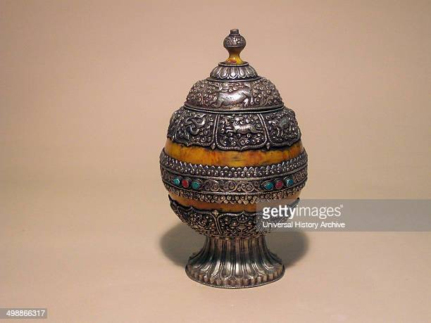 Buddhist Ritual Holy Grail Qing Dynasty Guangxu period 1874 1908 An eggshaped chalice decorated with animal motifs lion ox goat dog Silver Armor Mila...