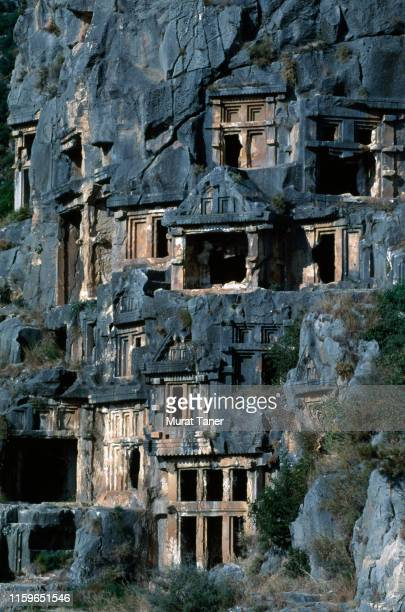 ancient tombs in myra - ancient greece photos stock pictures, royalty-free photos & images