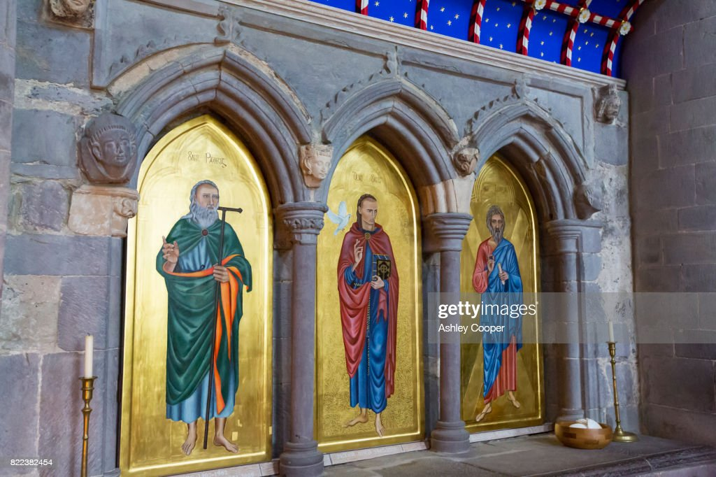Ancient tombs in St Davids Cathedral in St Davids, Pembrokeshire, Wales, UK. : Stock Photo