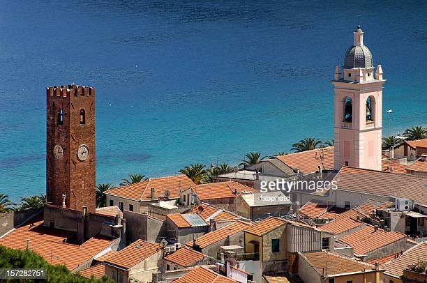 ancient tower and sea - liguria stock photos and pictures