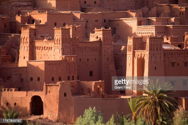 ancient village set in hill. - marokko stock-fotos und bilder