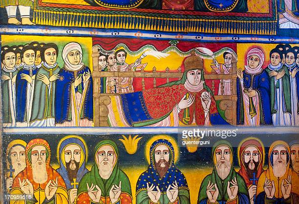 ancient wall painting in an orthodox church, axum, ethiopia - orthodox church stock pictures, royalty-free photos & images