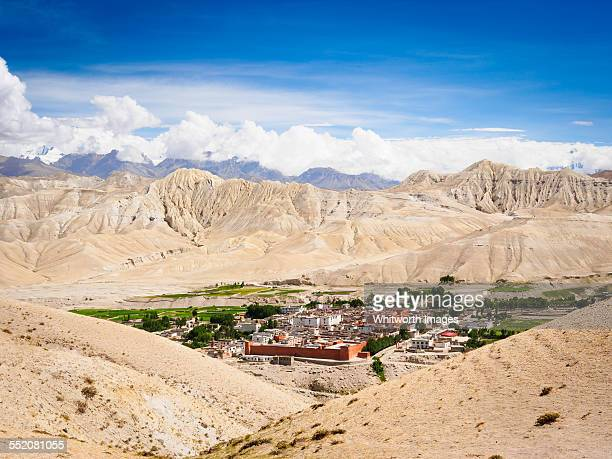 ancient walled city of lo manthang mustang nepal - lo manthang stock pictures, royalty-free photos & images