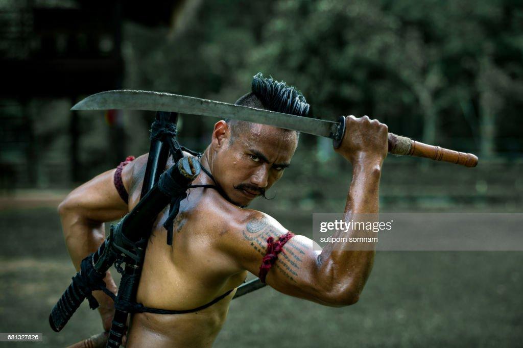 Ancient warrior man of soldier of Bang Rachan : Stock Photo