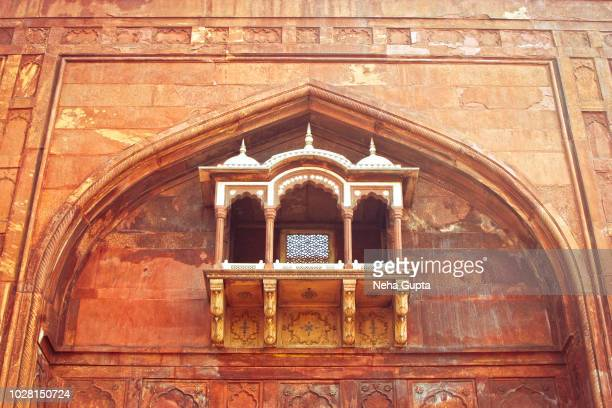ancient window - the jama masjid, new delhi, india - jama masjid delhi stock pictures, royalty-free photos & images
